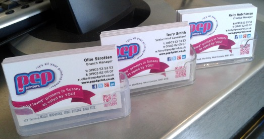 The brand new PEP cards in pride of place!